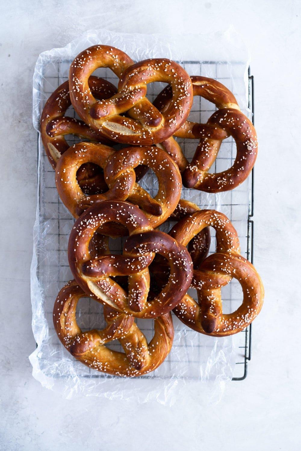 Soft pretzels cooling on rack