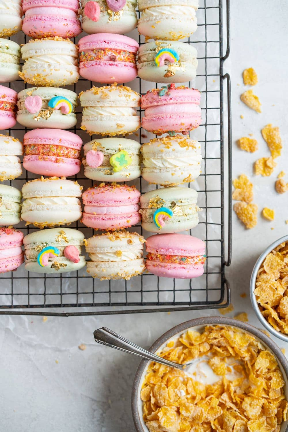 cereal milk macarons on cooling rack