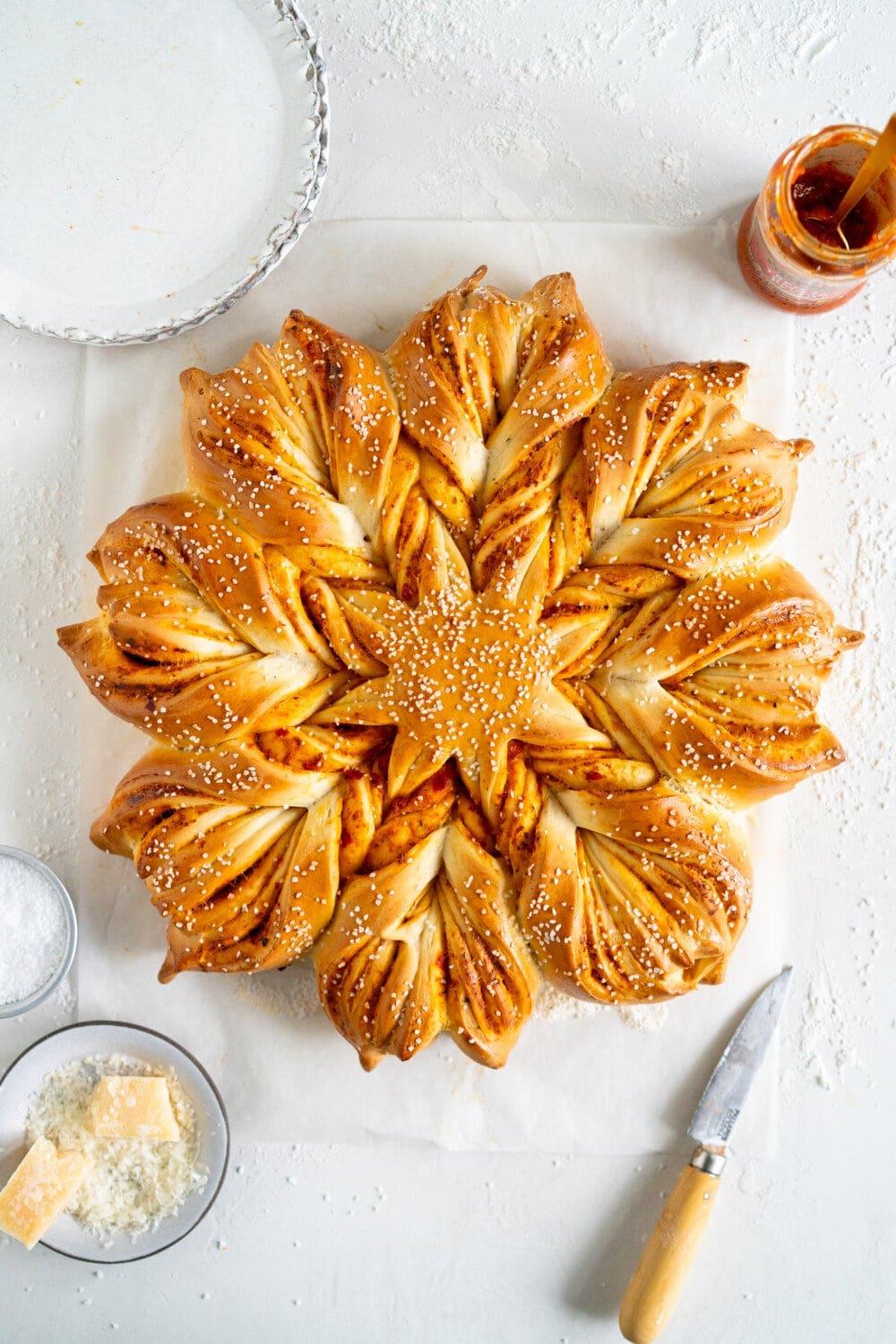 Pesto Star Bread Ready To Serve