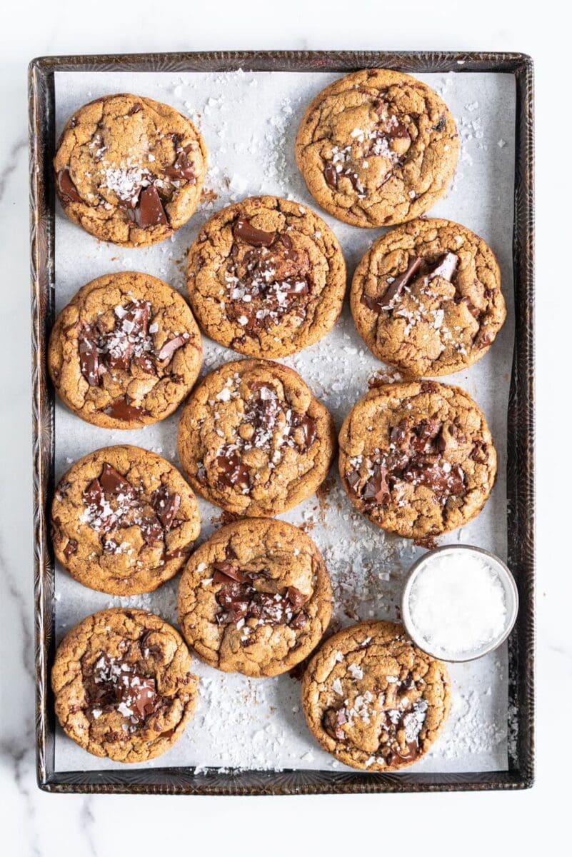 brown butter spelt chocolate chip cookies on a sheet pan