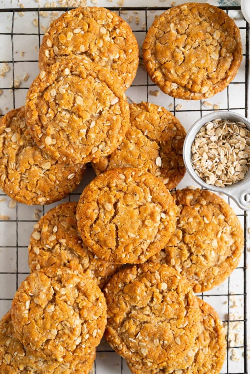 Brown butter anzac biscuits on rack