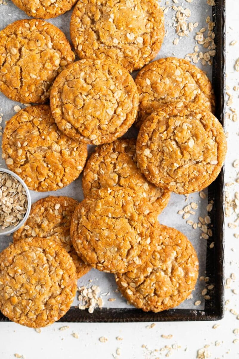 anzac biscuits on pan