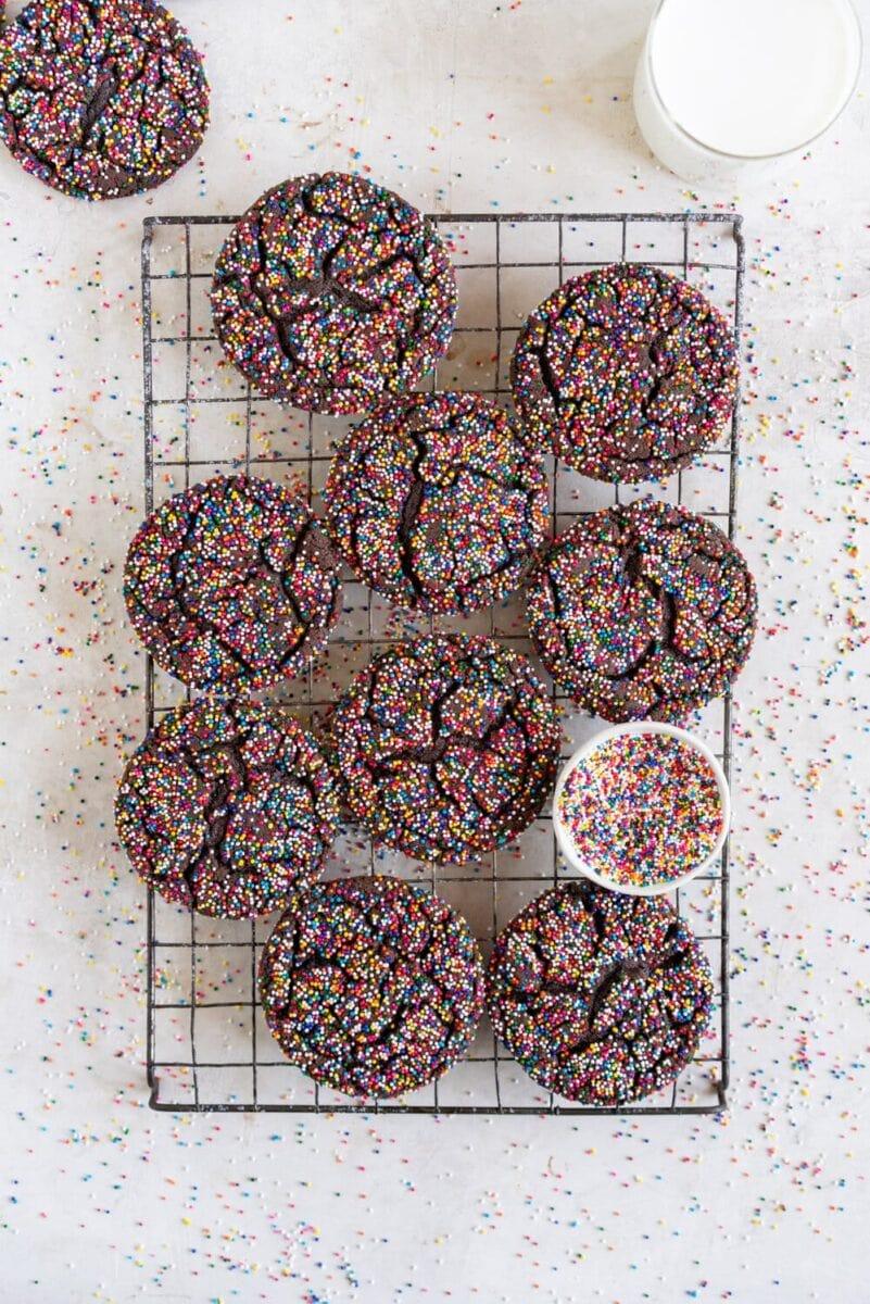 Chocolate Sprinkle Sugar Cookies on a wire rack