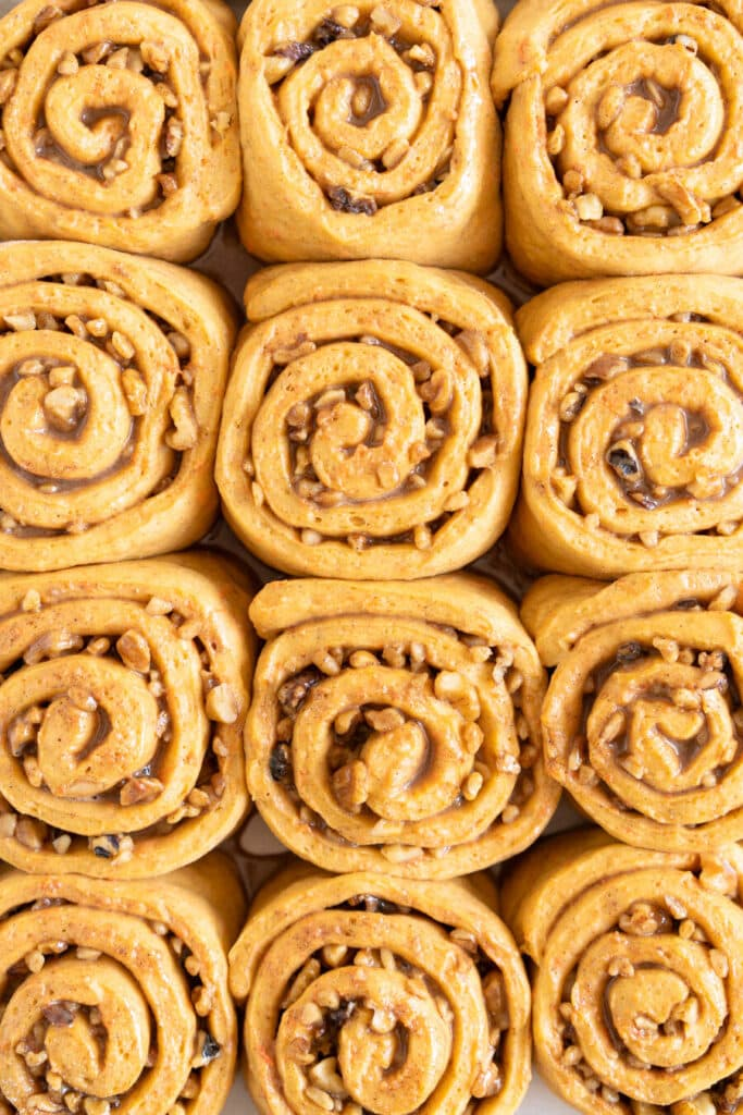 Close up photo of carrot cake cinnamon rolls