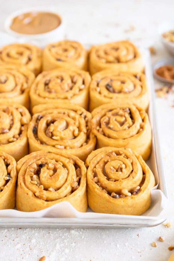 side on shot of carrot cake cinnamon rolls