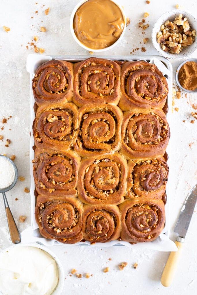 baked carrot cake cinnamon rolls