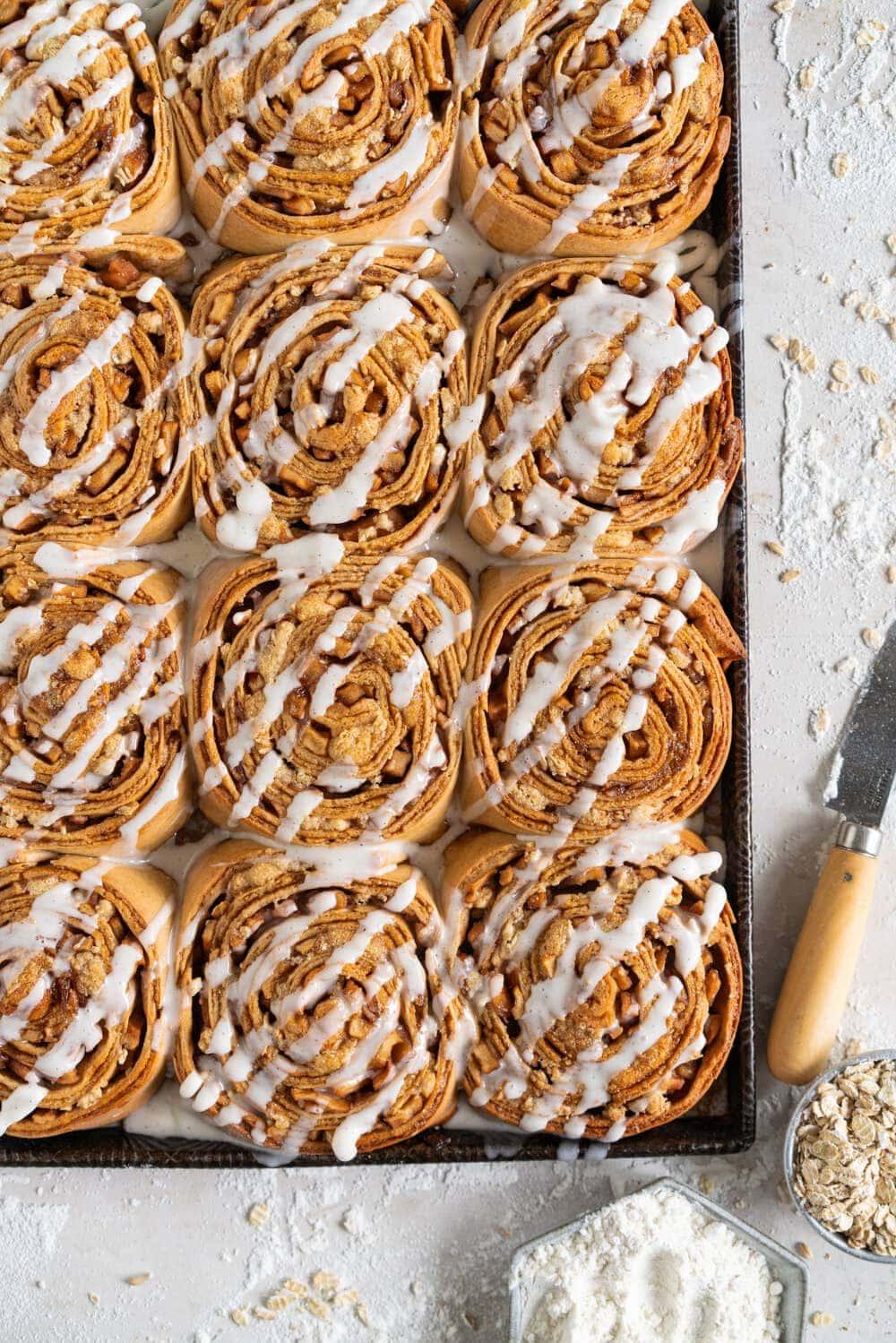 Apple cinnamon rolls with icing
