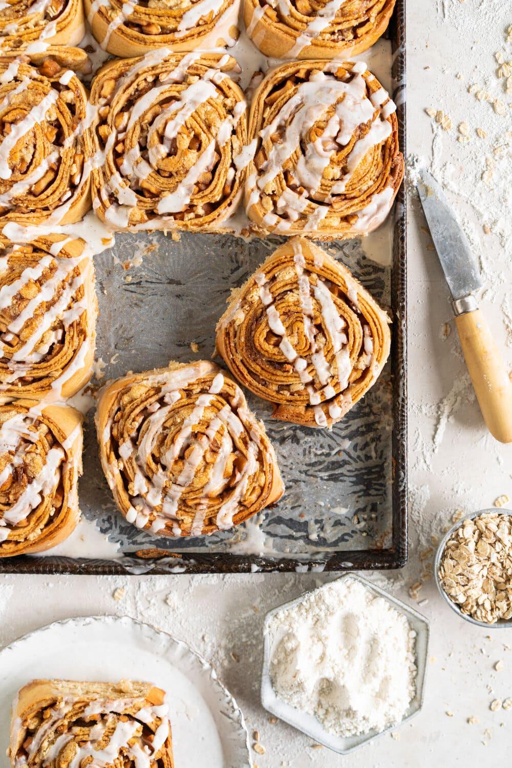 frosted apple cinnamon rolls