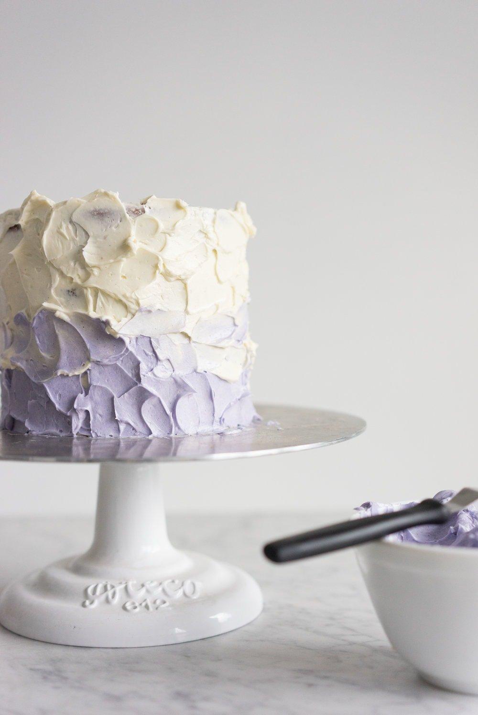 Honey lavender cake with vanilla german buttercream and lavender chocolate ganache drip