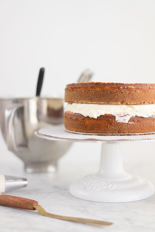 Zesty lemon yoghurt cake, lemon curd, and lemon curd swiss meringue buttercream