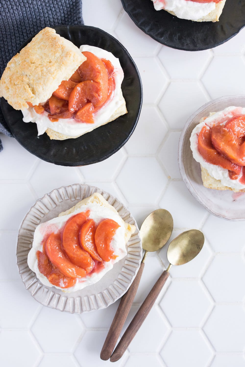 Scones with Roasted Peaches and Vanilla Bean Whipped Cream - the perfect summer morning or afternoon tea treat
