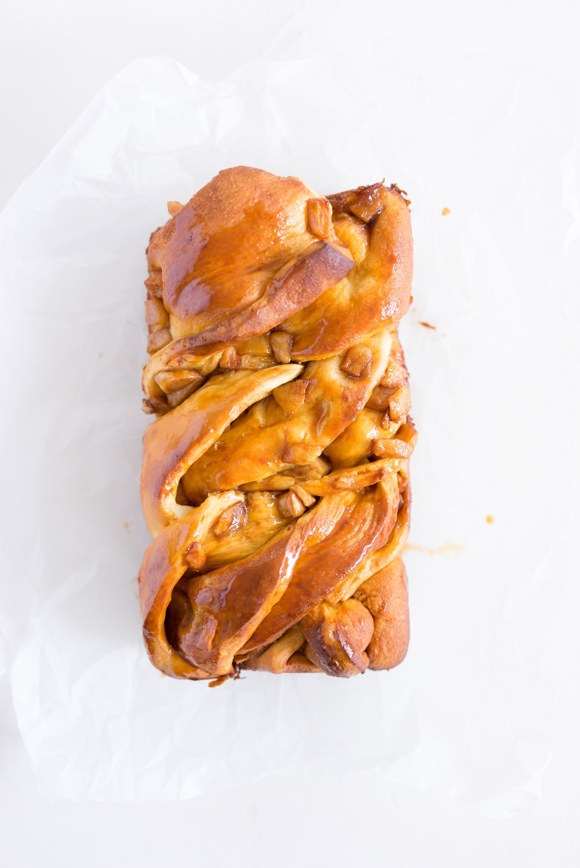 Salted Caramel and Apple Babka - pillowy brioche, loaded up with salted caramel and apple. The perfect fall treat.