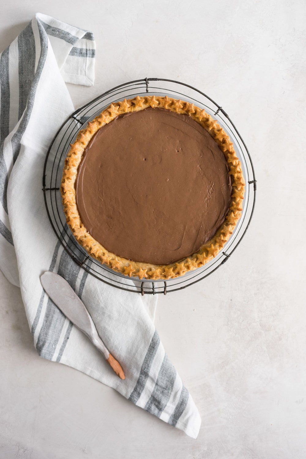 Chocolate Cream Pie with a peanut butter pie dough and a Whipped Peanut Butter Cream