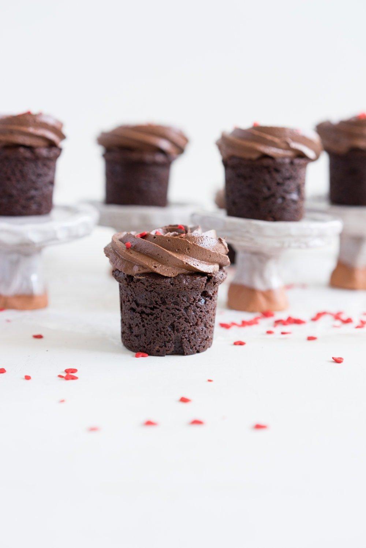 Hazelnut Brownie Bites with Dark Chocolate Hazelnut frosting. A dozen roses AND chocolate all in one go - you win valentines.