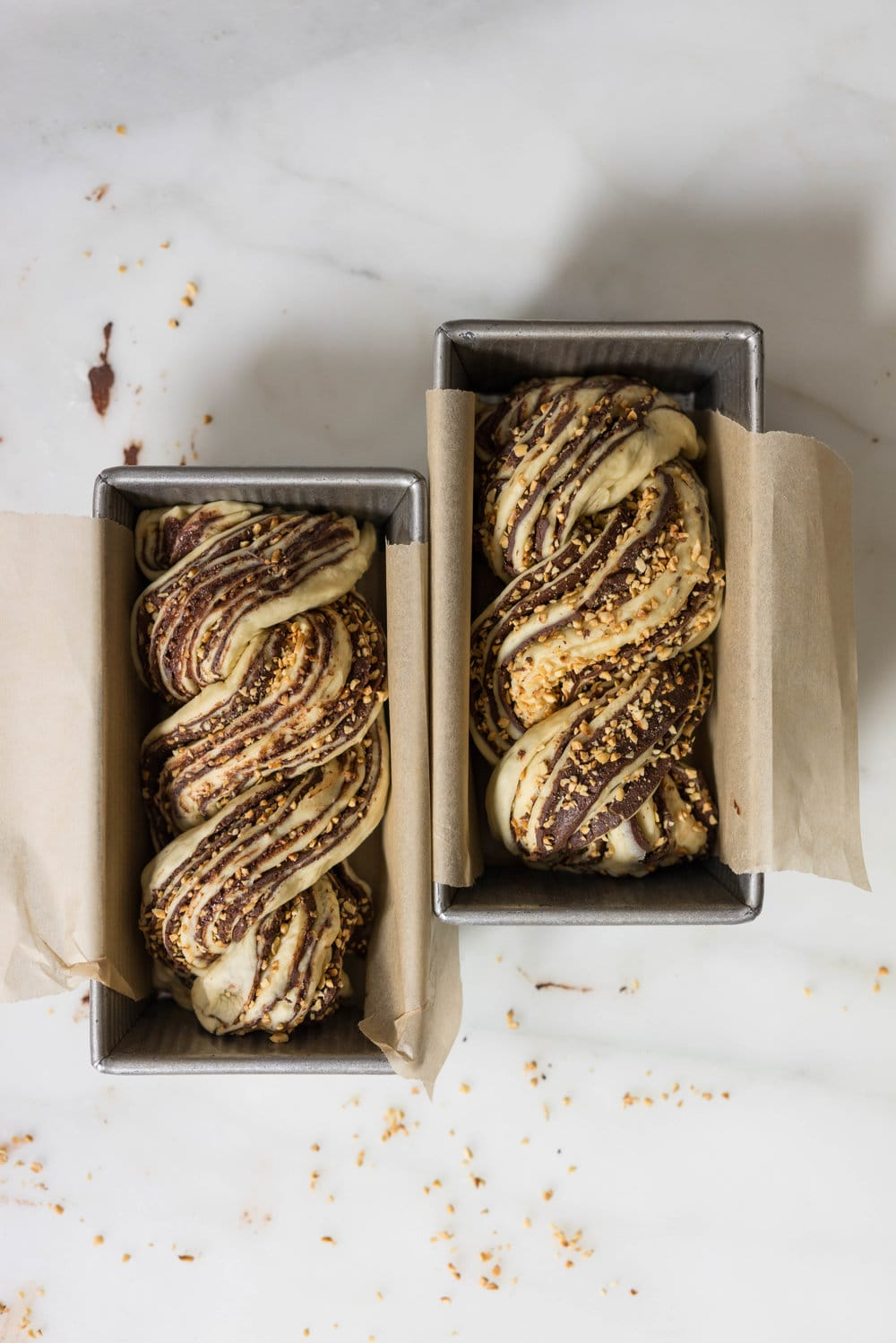 Chocolate Hazelnut Babka - fluffy brioche dough is rolled out and spread with a homemade hazelnut chocolate spread, sprinkled with chopped toasted walnuts, and rolled into swirly chocolatey loaves. The result is perfect for a coffee break, or an indulgent wee breakfast.
