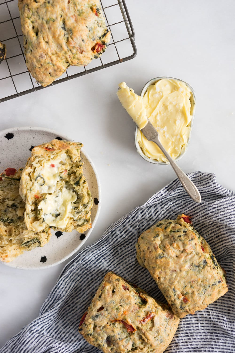 Spinach, Feta, Red Pepper, and Fennel Seed Scones. Perfect for a quick morning tea, a savory brunch option, or a light casual lunch.