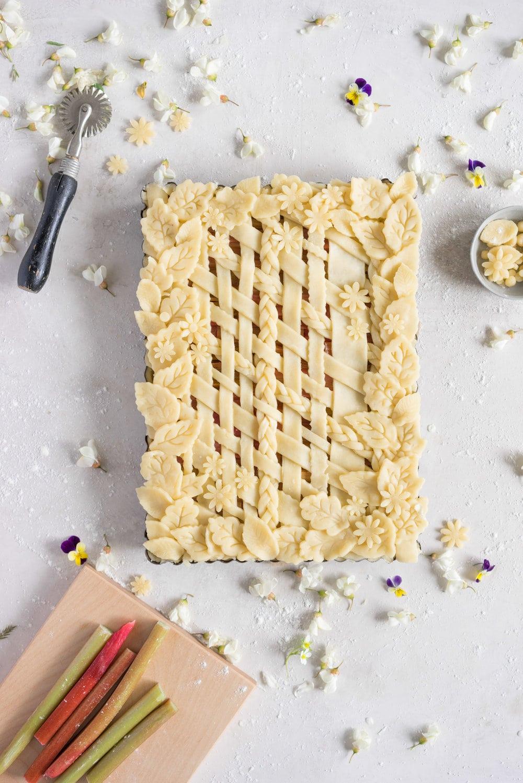 Rhubarb Frangipane Slab Pie - Flaky tender pie crust, sweet nutty frangipane, and vanilla infused roasted rhubarb. Perfect Spring or Early Summer Pie