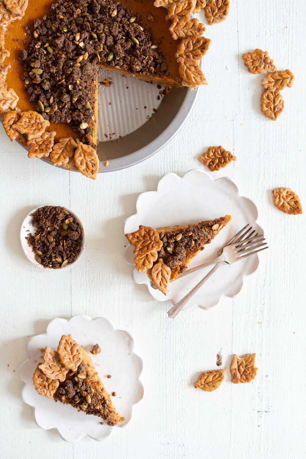 Buttermilk Pumpkin Streusel Pie from Lisa Ludwinski's new book, Sister Pie. Tangy buttermilk filling is topped with a nutty buckwheat pepita filling - a simple but genius twist on the traditional pumpkin pie. #pumpkinpie #buttermilk #pie #streusel #sisterpie