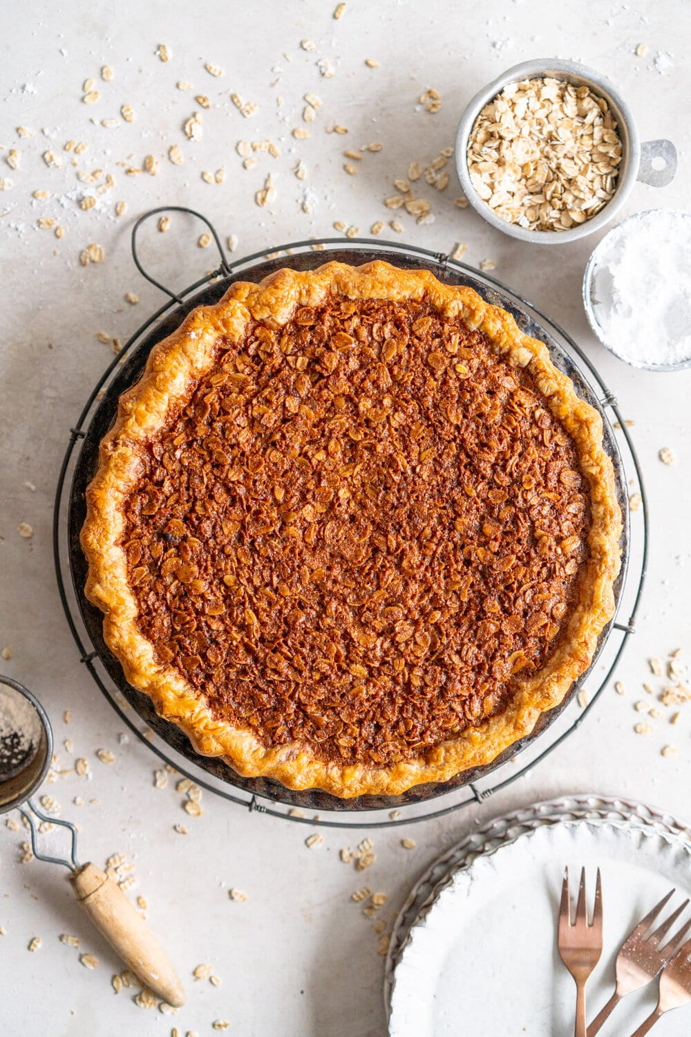 Brown Butter Oatmeal Pie - this is a pecan pie but without the pecans, which makes it the perfect pie for those who can't have nuts but still want the pecan pie experience. Toasted oats are mixed with brown butter and golden syrup for a chewy, perfect pie.