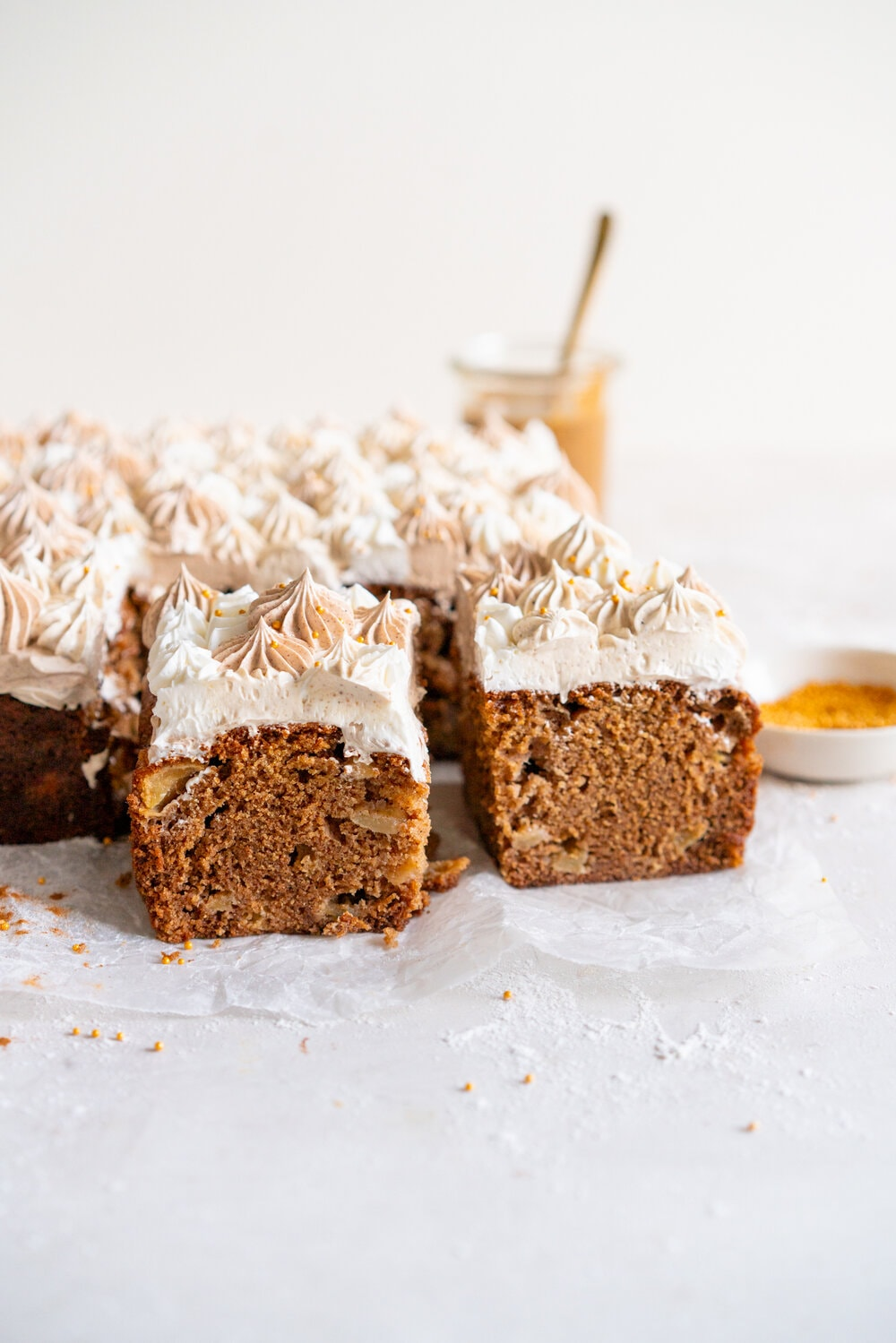 Apple Snack Cake with Ombre Walnut Praline Swiss Meringue Buttercream - a tender wholemeal apple cake is topped with swirls of buttercream made with swiss meringue buttercream flavoured with a nutty walnut praline