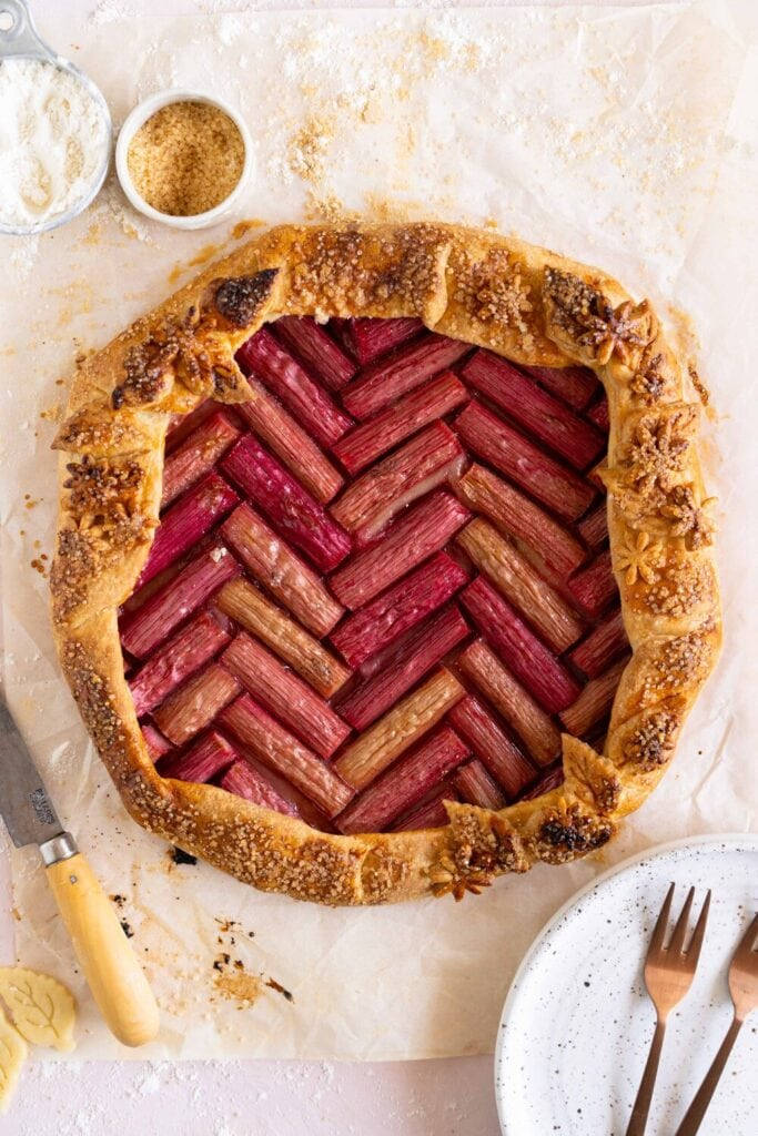 baked rhubarb galette