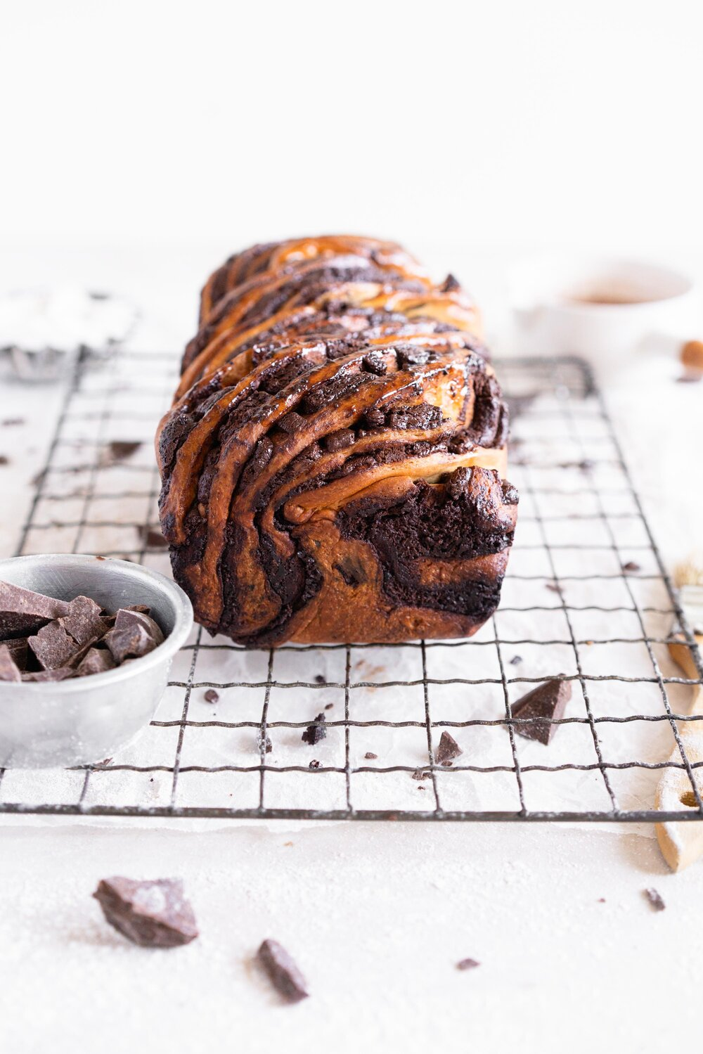 A super easy, rich chocolate and espresso babka made with a rye brioche. The brioche dough is super soft and fluffy, made with rye flour for a toasty finish, and is filled with an espresso chocolate filling and finished with a simple syrup to give it shine and lock in moisture