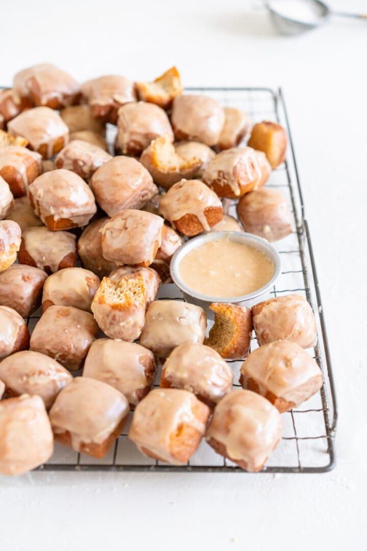 Side on shot of glazed doughnut bites