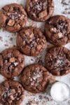 Double chocolate cookies on a sheet pan