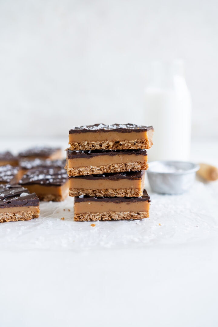 Stacked Anzac Caramel Slice