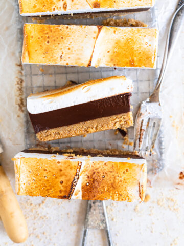 cut shot of s'mores bars