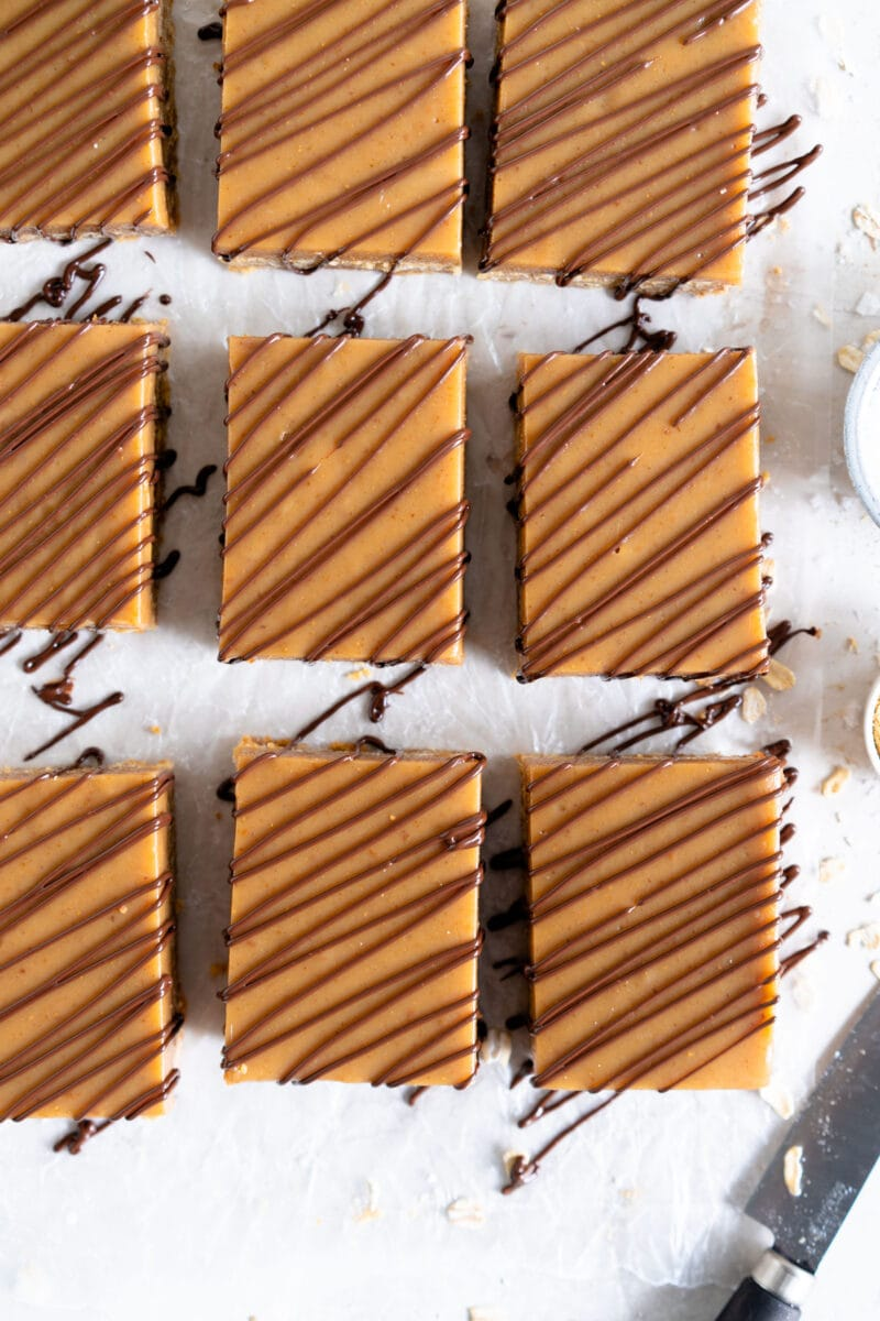 rectangle bars drizzled with chocolate