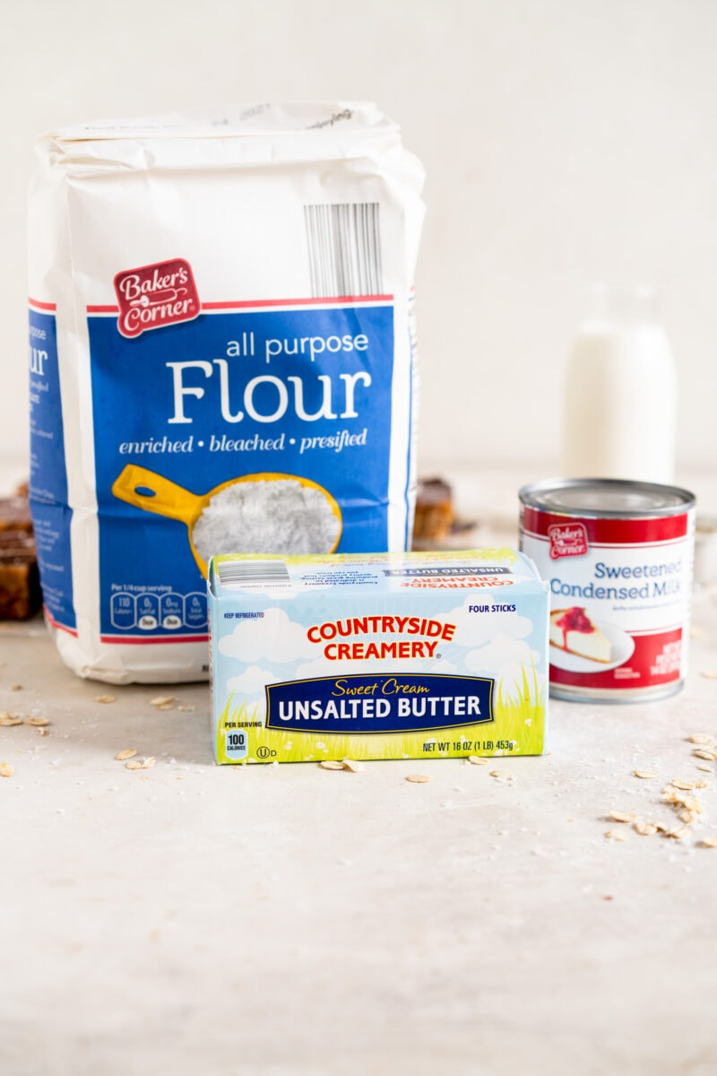 ingredients ready for ginger caramel slice