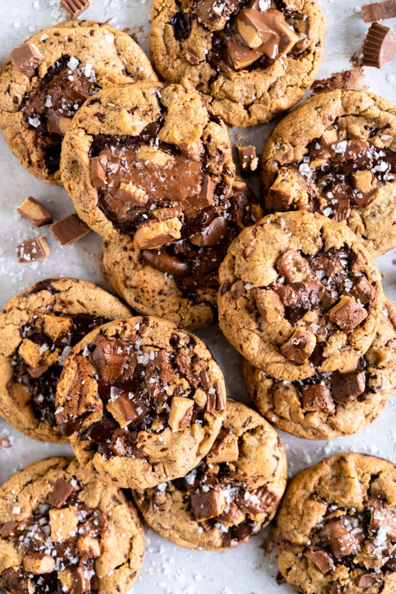 Peanut butter chocolate chip cookies, layered on top of each other.