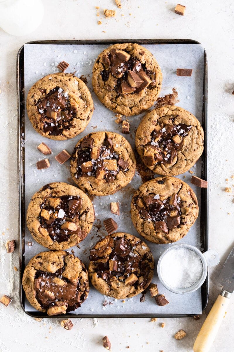 Peanut Butter Chocolate Chip cookies on a tray
