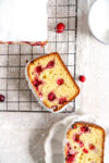 slice shot of cranberry olive oil loaf cake