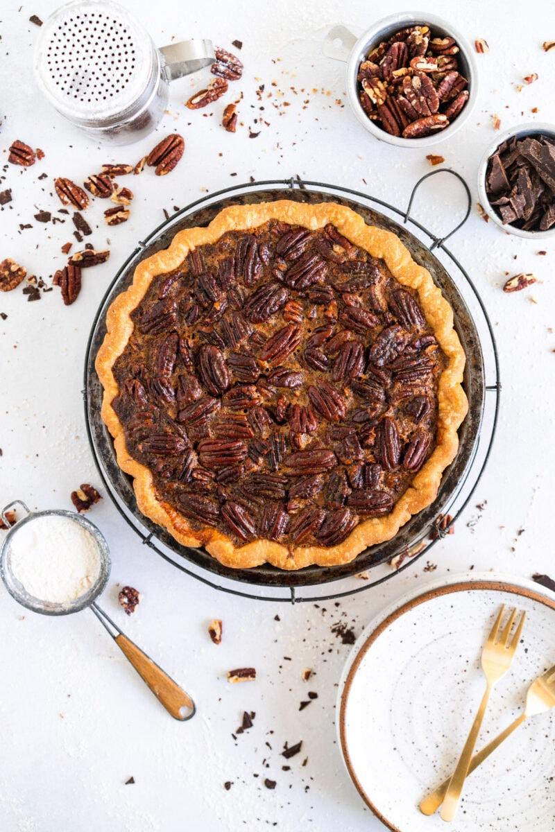 Baked Pecan Pie on Baking Rack