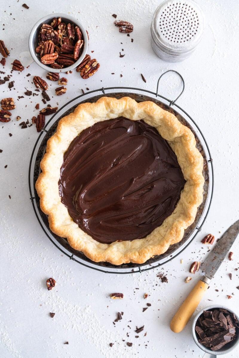 Chocolate Ganache in Par-baked Pecan Pie Crust