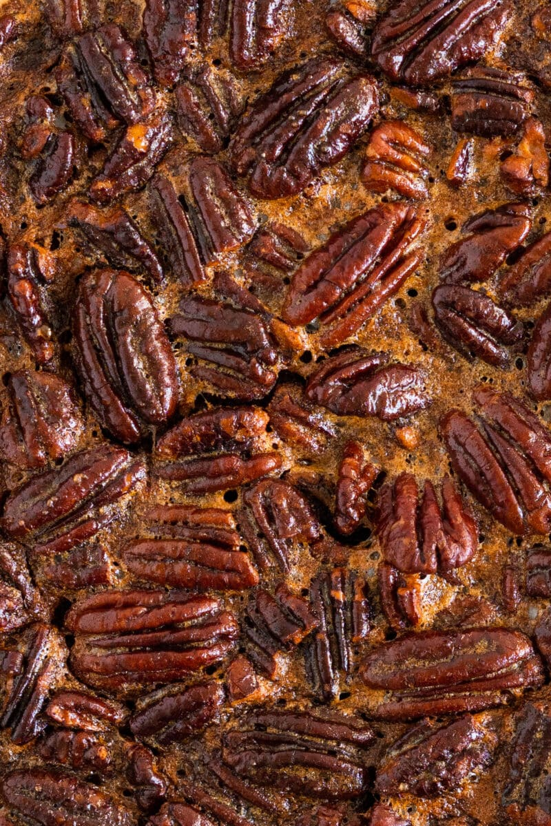 Close up shot of Pecan Pie Filling