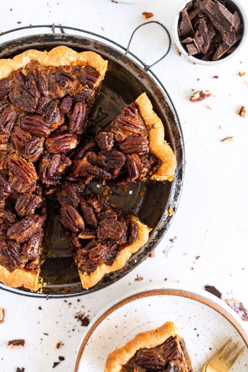 cut shot of brown butter pecan pie