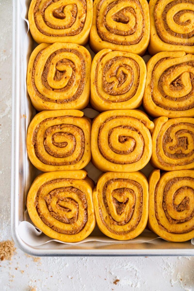 Corner shot of cinnamon rolls