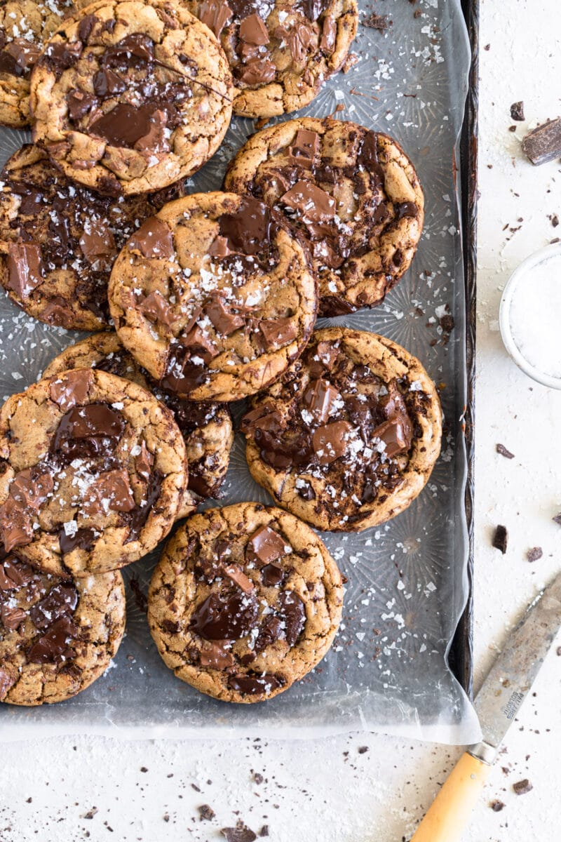 Olive oil chocolate chip cookies on sheet pan