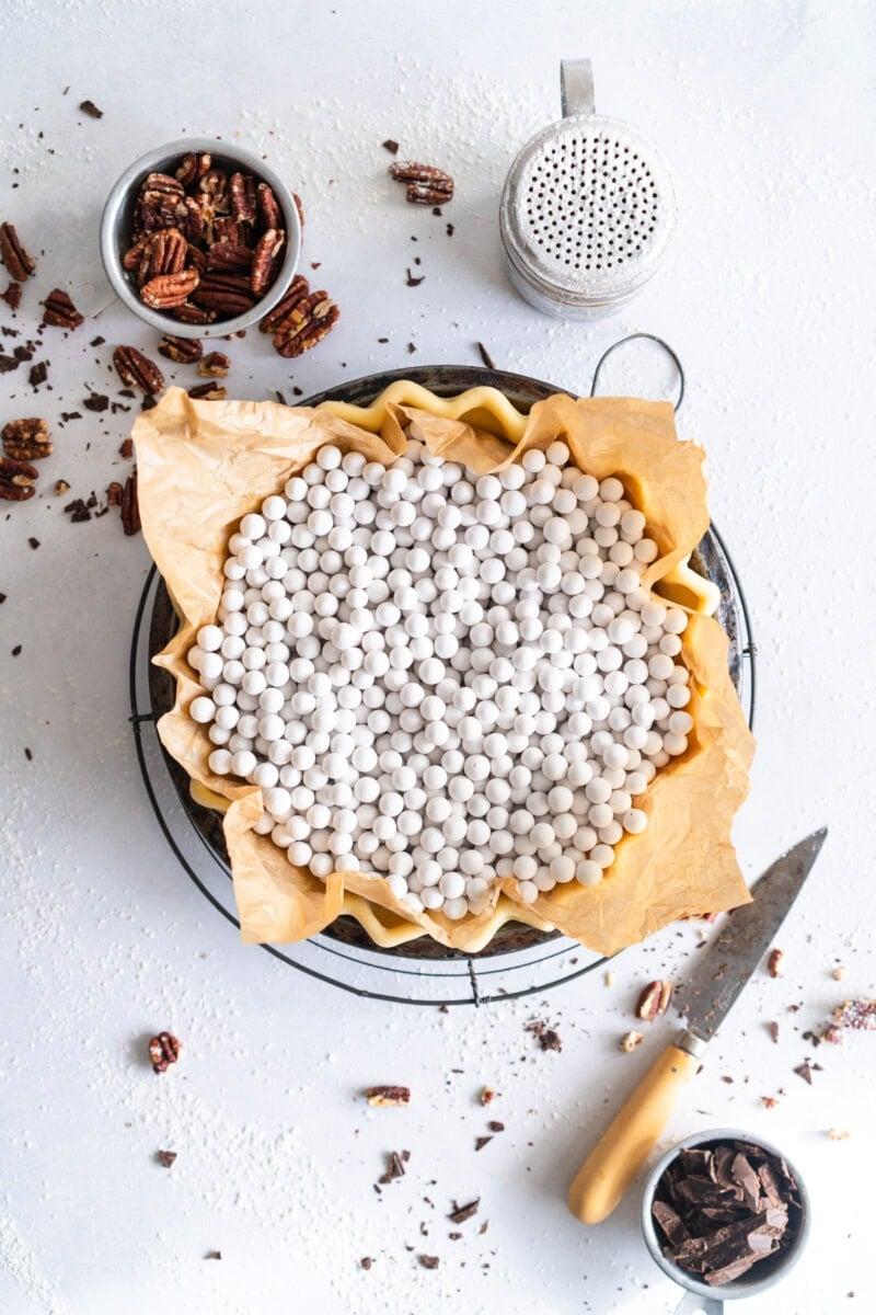 Pecan Pie Crust ready for Par-bake