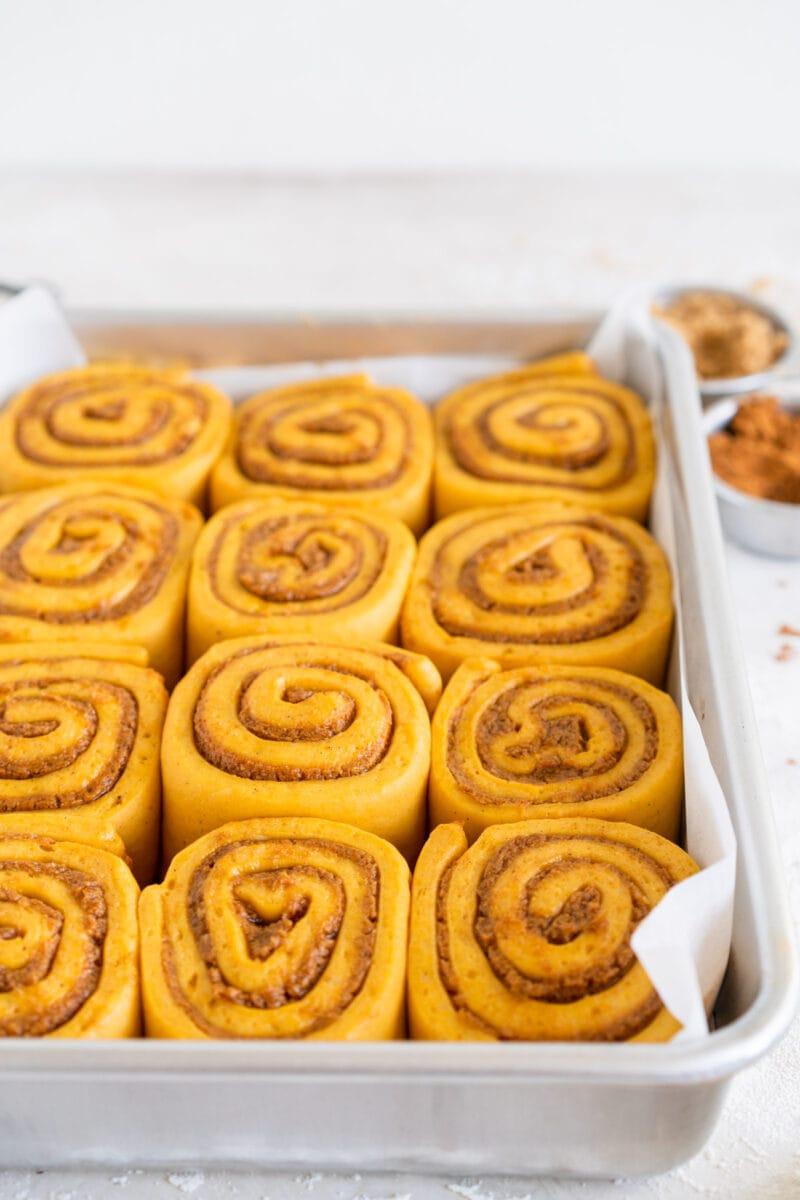 Angle shot of pumpkin cinnamon rolls
