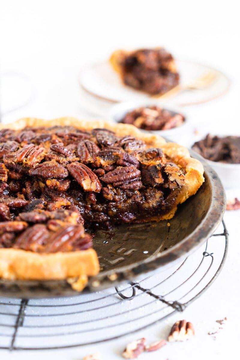 Side on slice shot of pecan pie