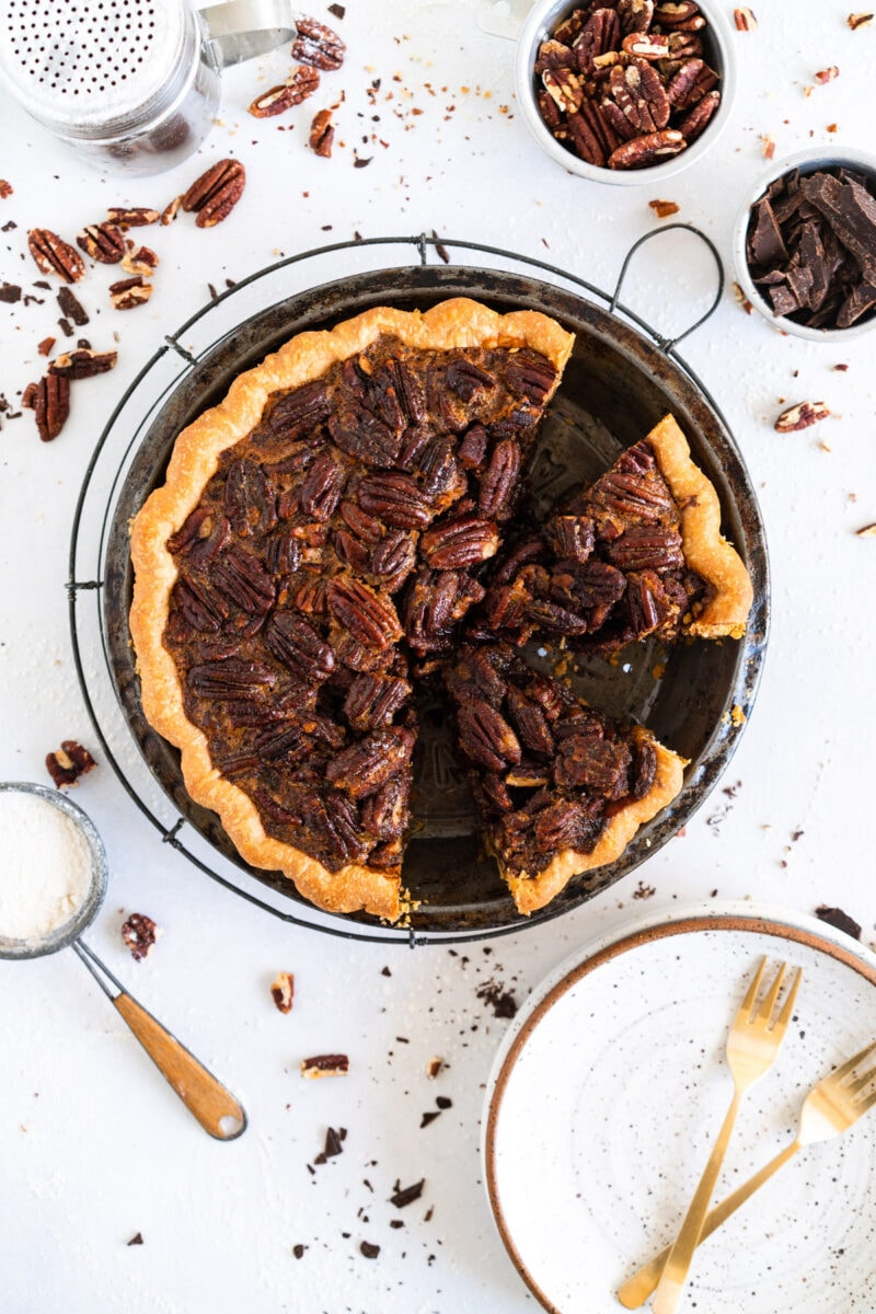 Pecan Pie with slices taken from it