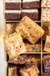 close up shot of birthday cake blondies