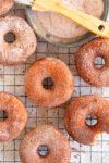 top down photo of cinnamon sugar doughnuts