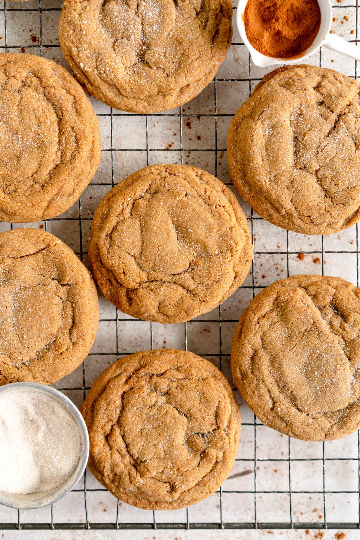 close up of ginger molasses cookies on rack
