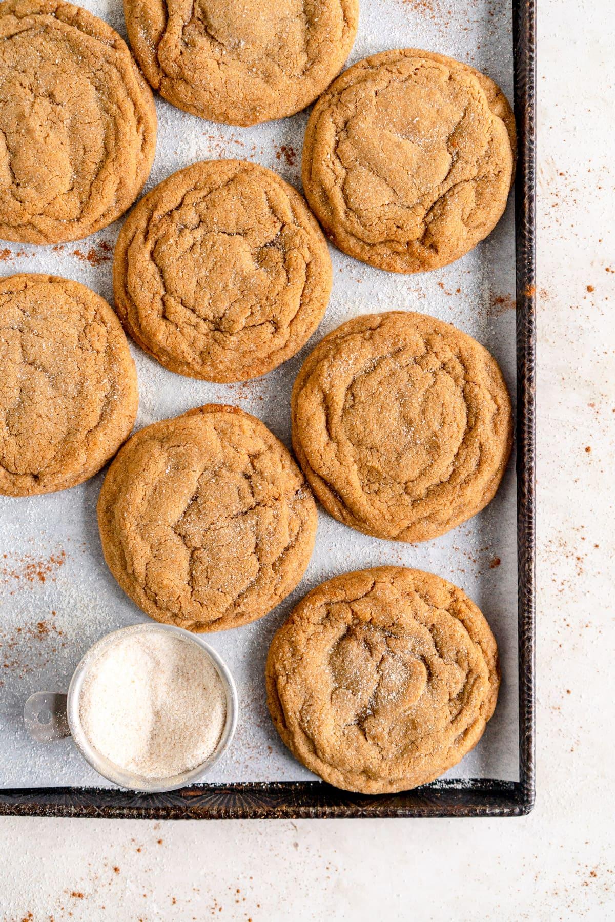 ginger sugar cookies on sheet pan corner shot