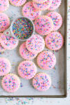 sprinkle cookies on sheet pan